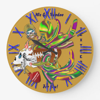 Mardi Gras Football Voodoo Skelly View Notes Plse Large Clock