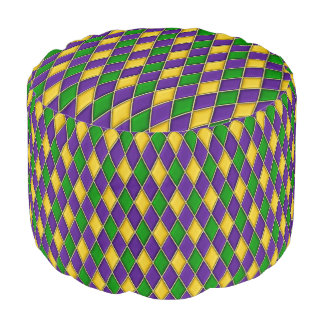 Mardi Gras Harlequin Diamond Pattern Pouf