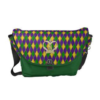 Mardi Gras Harlequin Diamonds w/crown  Travel Bag Courier Bags