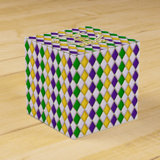 Mardi Gras Harlequin pattern2 with Crown Party Favour Box