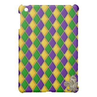 Mardi Gras Harlequin w/Gold Fleur de Lys  Cover For The iPad Mini