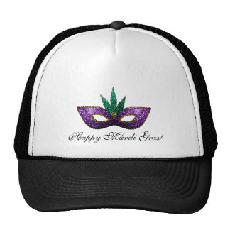 Mardi Gras Mask Purple Green Gold Sparkles Cap