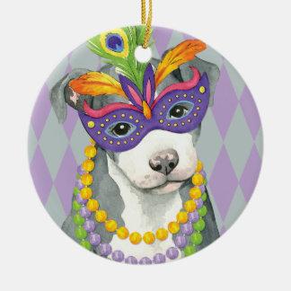 Mardi Gras Pit Bull Terrier Round Ceramic Decoration