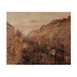 Mardi Gras, Sunset, Boulevard Montmartre by Camill Postcard