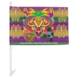 Mardi Gras The Clown Read Description Below Car Flag