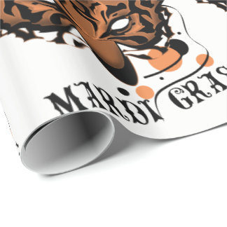 "MARDI GRAS TIGER 30"" x 6'CARTOON Wrapping Paper"