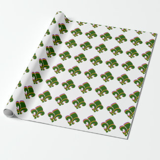 Mardi Gras Tri-colored Fleur de Lis Wrapping Paper