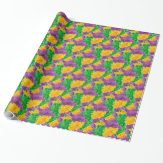Mardi Gras Watercolor Pointillize Camouflage Wrapping Paper