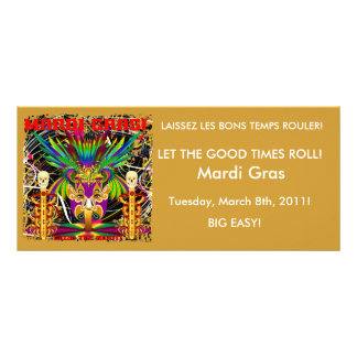 Mardi Gras Witch Doctor-Skull V-3-T Personalized Rack Card