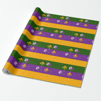 Mardi Gras wrapping paper w/mask and fleur de lis