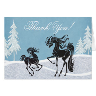 Mare and Foal Winter Horse Thank You Card