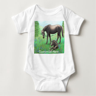 Mare with Foal Customisable Babie One Piece Baby Bodysuit