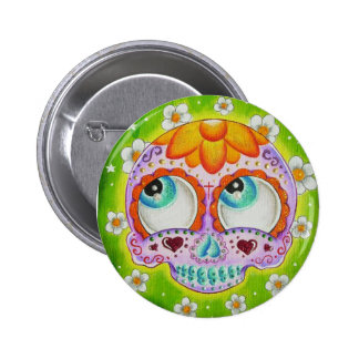 Margaritas skull 6 cm round badge