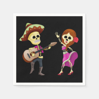 Mariachi Dancing Couple Day of the Dead Disposable Napkins