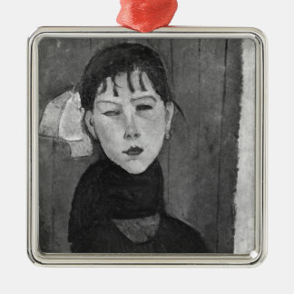 Marie, young woman of the people Silver-Colored square decoration