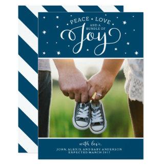 Marine Blue Christmas Pregnancy Announcement Card