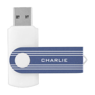 Marine Blue Stripes custom monogram USB drives
