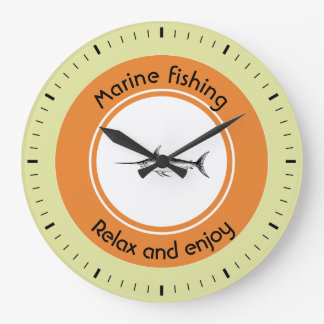 Marine fishing Relax and enjoy Large Clock