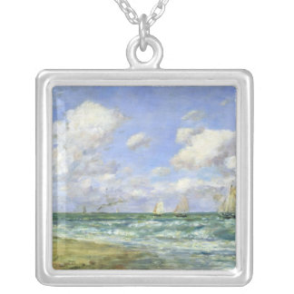 Marine scene, 1894 silver plated necklace