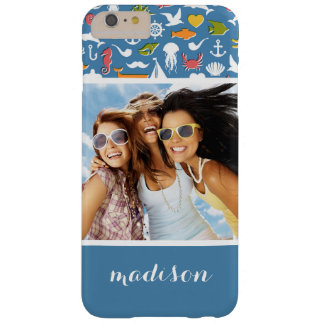 Marine Symbols Pattern | Your Photo & Name Barely There iPhone 6 Plus Case