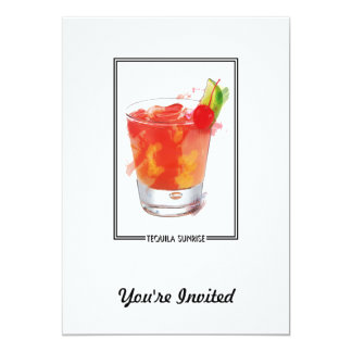 "Marker Sketch Tequila Sunrise Cocktail 5"" X 7"" Invitation Card"