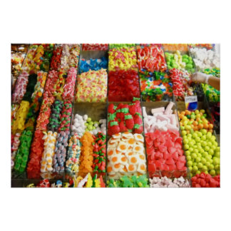 Market Candy Sweets Barcelona Spain Poster