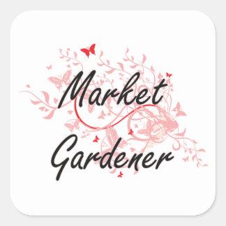 Market Gardener Artistic Job Design with Butterfli Square Sticker