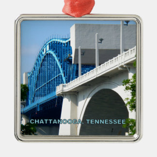 MARKET STREET BRIDGE - Chattanooga, TN Silver-Colored Square Decoration