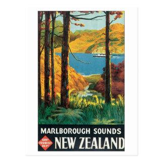 Marlborough Sounds, New Zealand Travel Poster Postcard