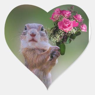 Marmot bouquet heart sticker