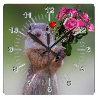 Marmot flowers square wall clock