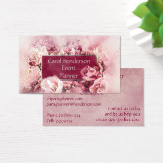 Maroon and Pink ElegantFloral Event Party Planner Business Card