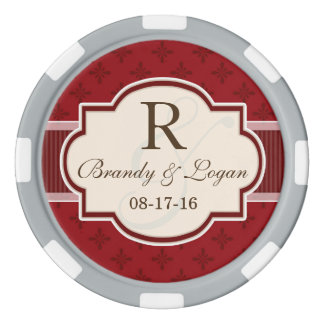 Maroon and Red Retro Wedding Poker Chips