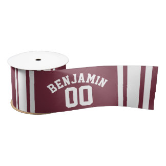 Maroon and White Jersey Stripes Custom Name Number Satin Ribbon
