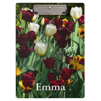Maroon and Yellow Tulips Colorful Floral Clipboard