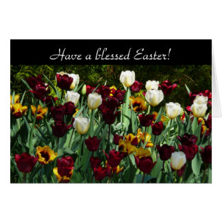 Maroon and Yellow Tulips Easter Card