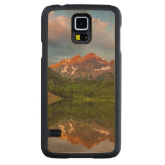 Maroon Bells Reflect Into Calm Maroon Lake 3 Carved Maple Galaxy S5 Case