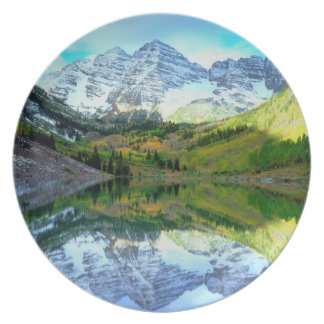 Maroon Bells reflecting in Maroon Lake Plate