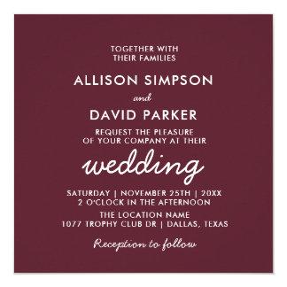 Maroon Burgundy Simple Modern Wedding Card