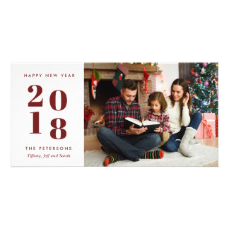 Maroon Family Happy New Year Holiday Photo Card