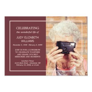 Maroon Minimal Celebrating Life   Custom Photo 13 Cm X 18 Cm Invitation Card