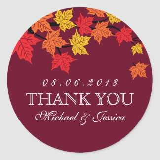 Maroon Red Maple Leaf Fall Autumn Wedding Sticker
