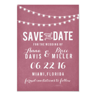 Maroon Summer String Light Save The Date Card