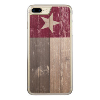 Maroon Texas Flag Painted Wood Carved iPhone 8 Plus/7 Plus Case