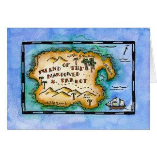 Marooned Parrot Treasure Map Greeting Card