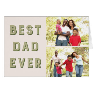Marquee 2-Photo Father's Day Greeting Card - Moss