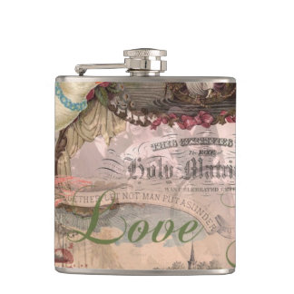 Marriage Collage Vintage Wedding Floral Hip Flask