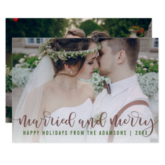 Married and Merry Calligraphy | Newlywed Photo 13 Cm X 18 Cm Invitation Card