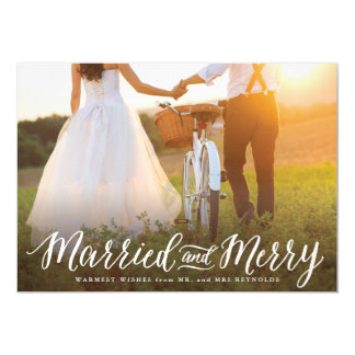 Married and Merry Landscape Holiday Card 13 Cm X 18 Cm Invitation Card