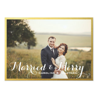 Married & Merry Christmas Holiday Photo Gold Frame 13 Cm X 18 Cm Invitation Card